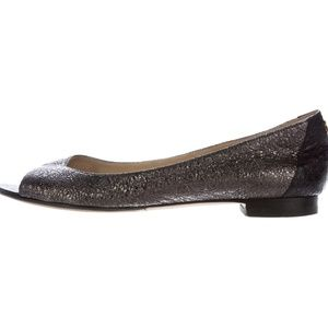 Chanel Metallic Peep-Toe Flats